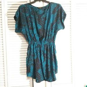 Express Deep Blue Green Snake Skin Print Dress
